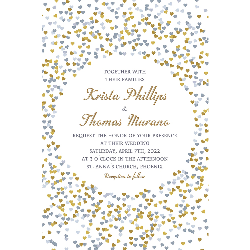 Custom Bunches of Hearts Gold Wedding Invitations Image #1