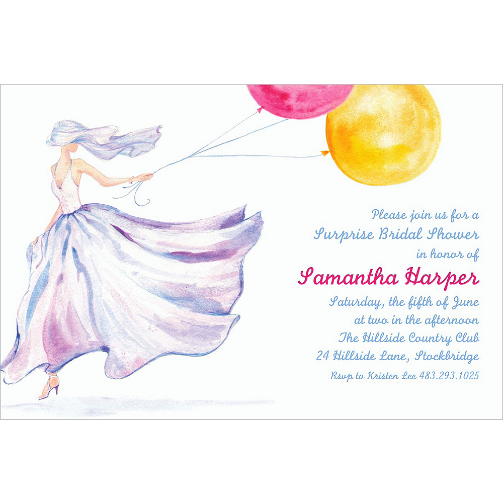 Custom Bride with Balloons Bridal Shower Invitations | Party City