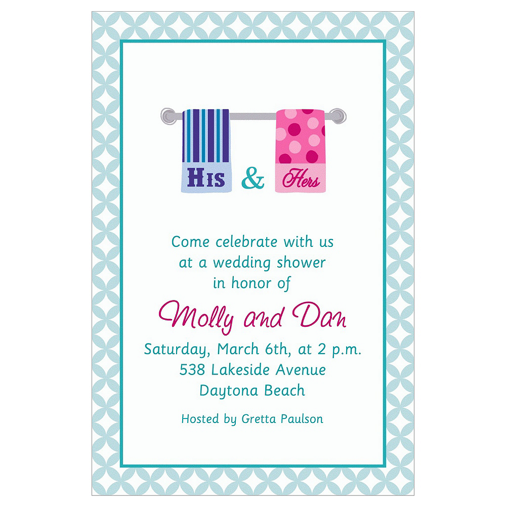 Custom His & Hers Towels Bridal Shower Invitations | Party City