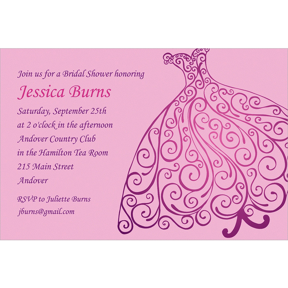 Custom Quilled Bridal Gown Shower Invitations Party
