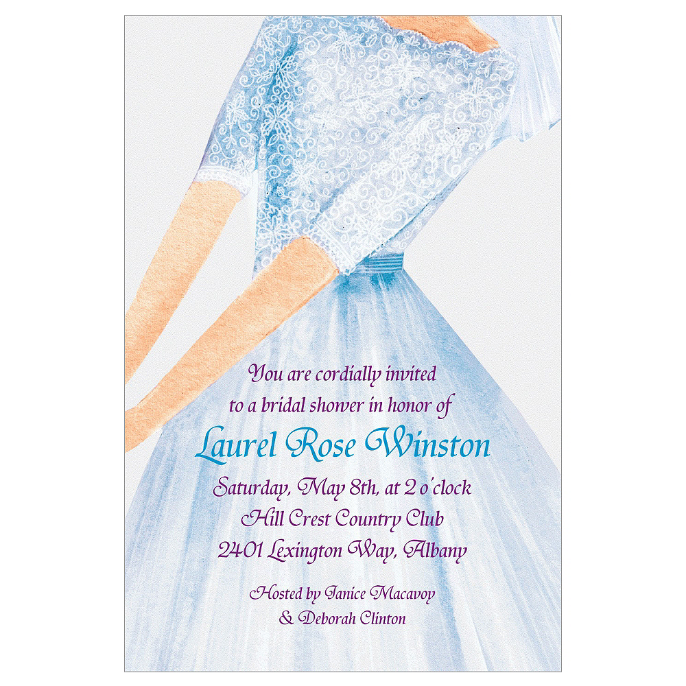 Custom Watercolor Bride Bridal Shower Invitations Image #1