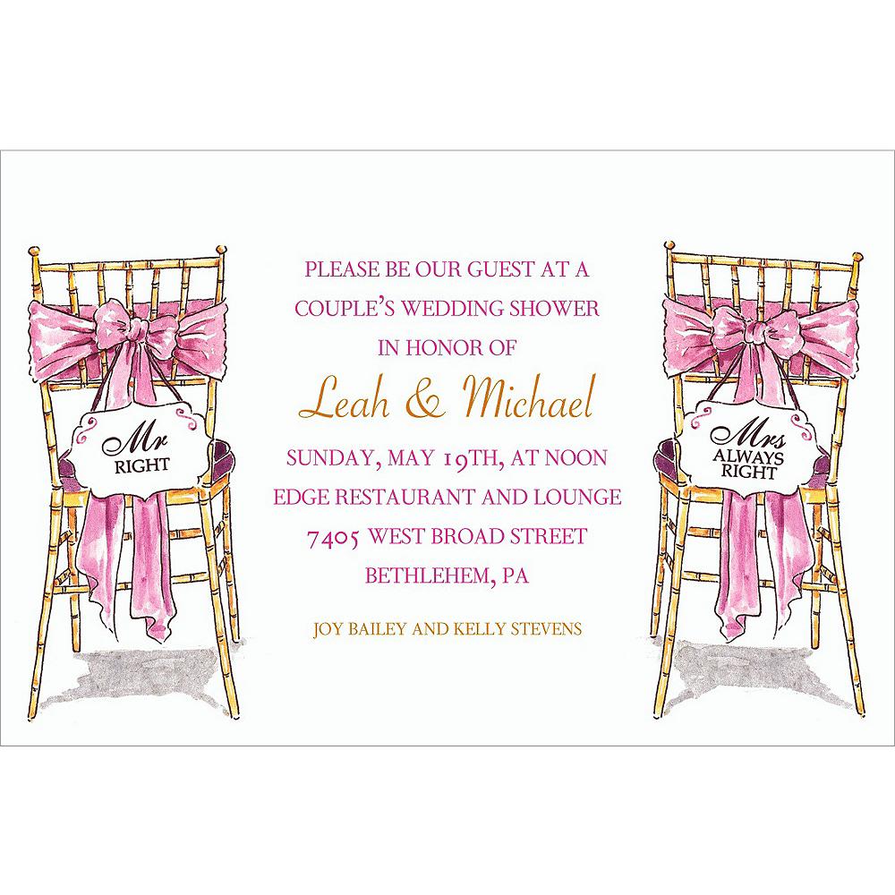 Custom Mr. & Mrs. Right Bridal Shower Invitations Image #1
