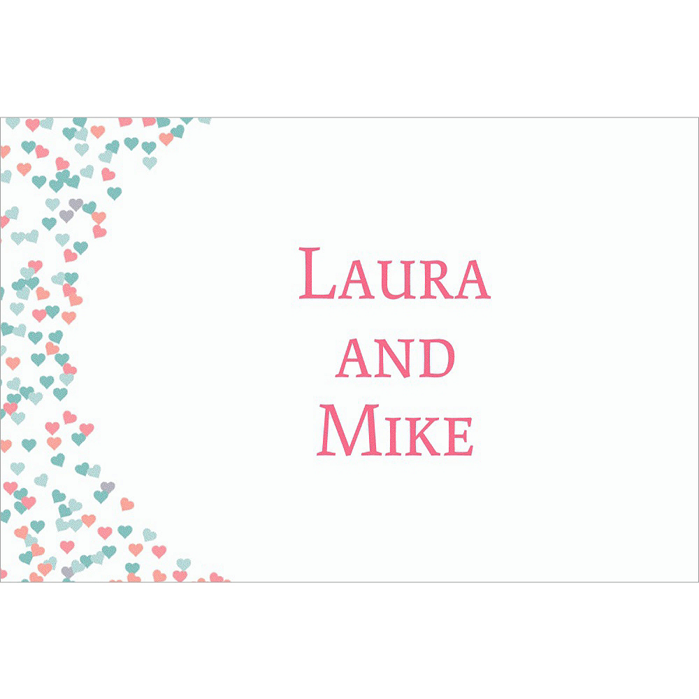 Custom Bunches of Hearts Pink Wedding Thank You Notes Image #1
