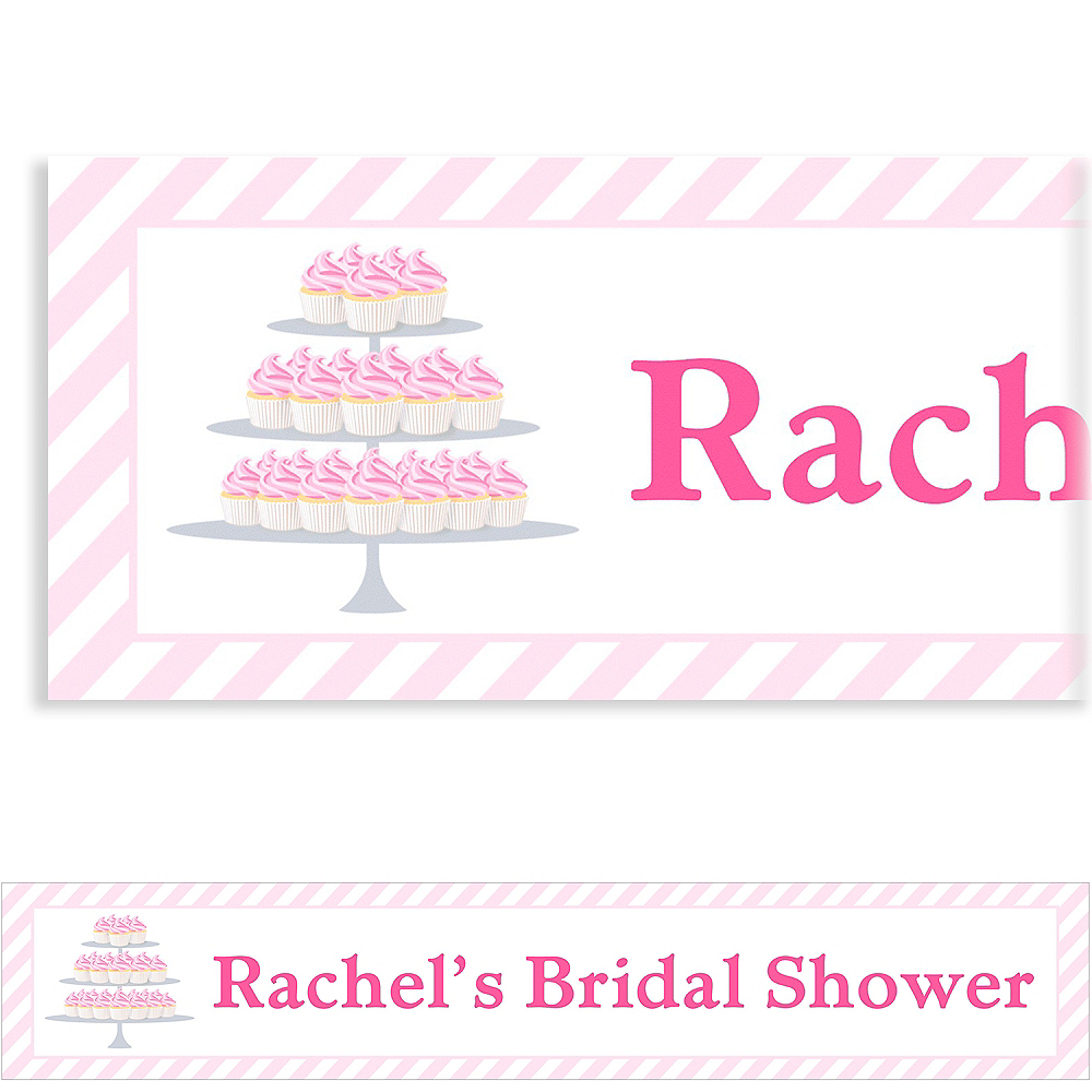 Custom Cake of Cupcakes Bridal Shower Banner 6ft Image #1