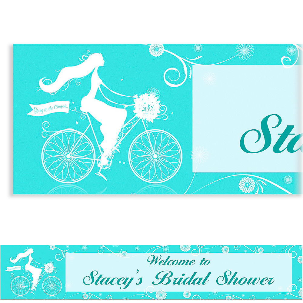 Custom Chapel Bicycle Bridal Shower Banner 6ft Image #1
