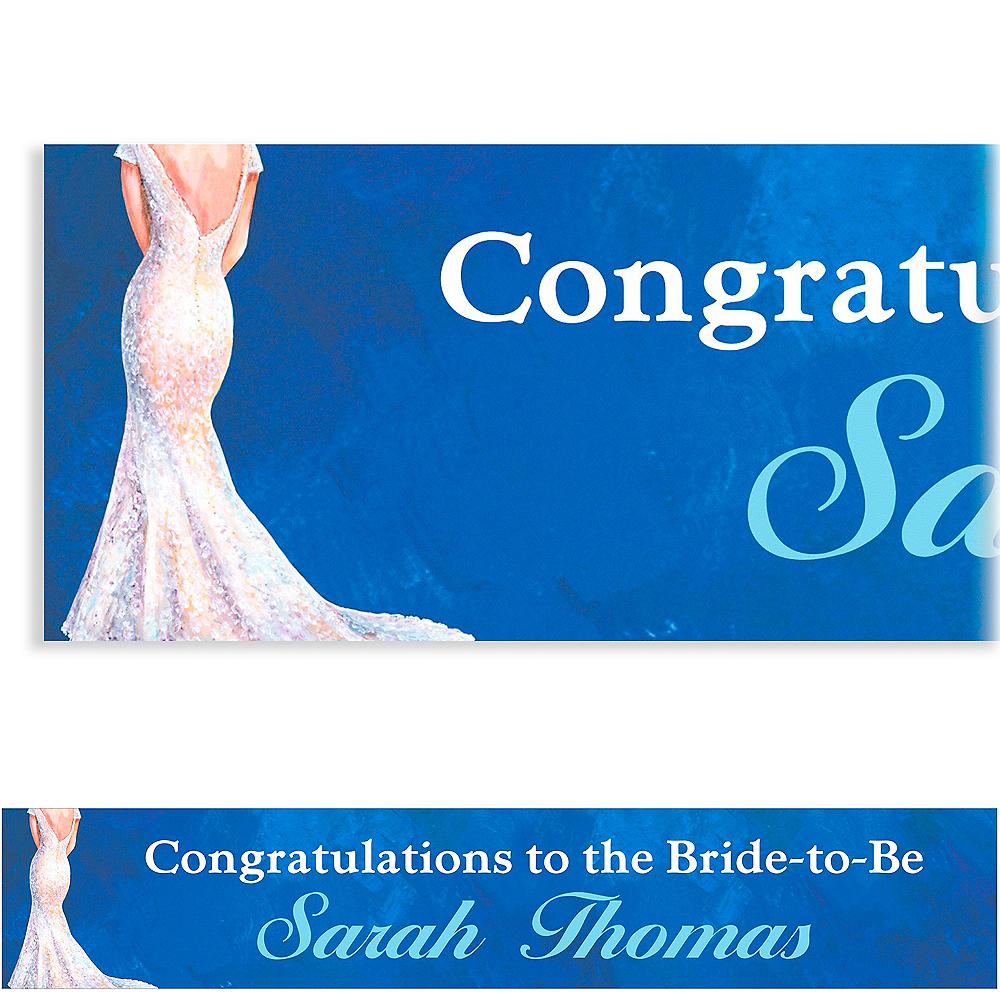 Custom Bride in Gown Dark Bridal Shower Banner 6ft Image #1