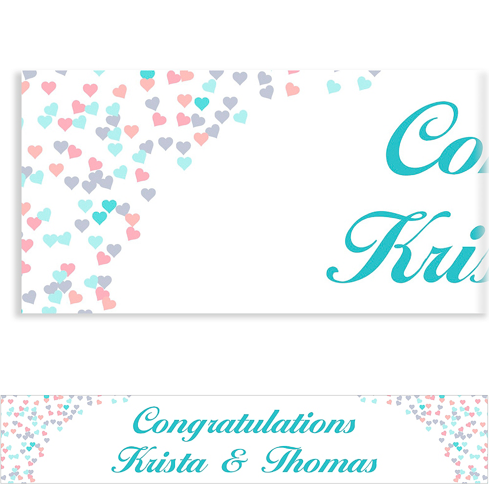 Custom Bunches of Hearts Pink Wedding Banner 6ft Image #1
