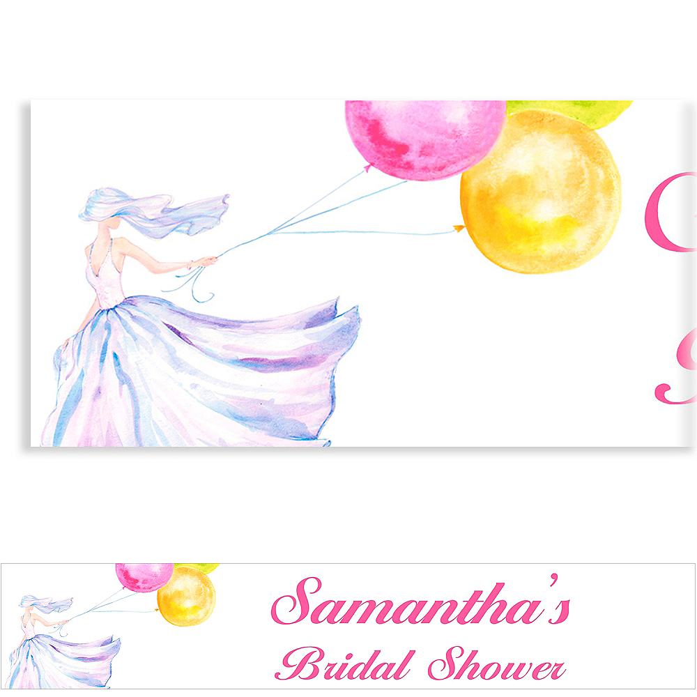 Custom Bride with Balloons Bridal Shower Banner 6ft Image #1