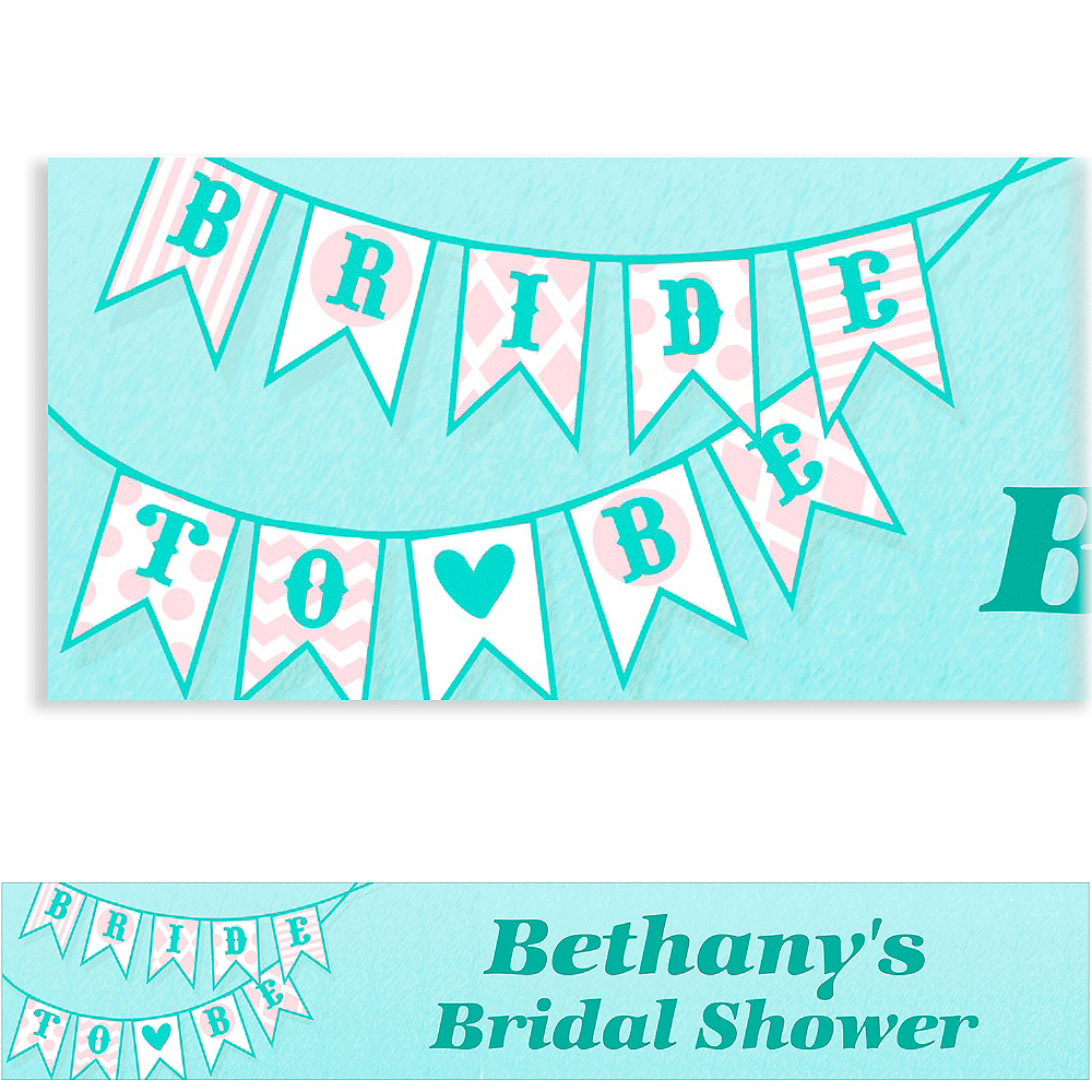 Custom Bride to Be Flags Bridal Shower Banner 6ft Image #1
