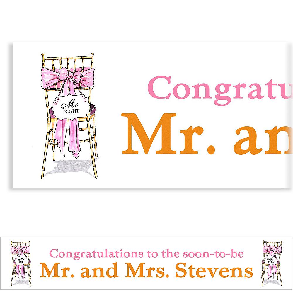 Custom Mr. & Mrs. Right Bridal Shower Banner 6ft Image #1