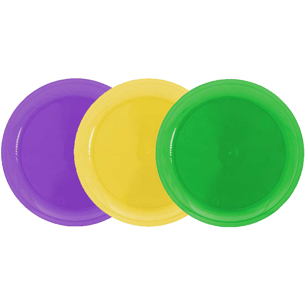 Nav Item for Mardi Gras Plastic Snack Plates 40ct Image #1