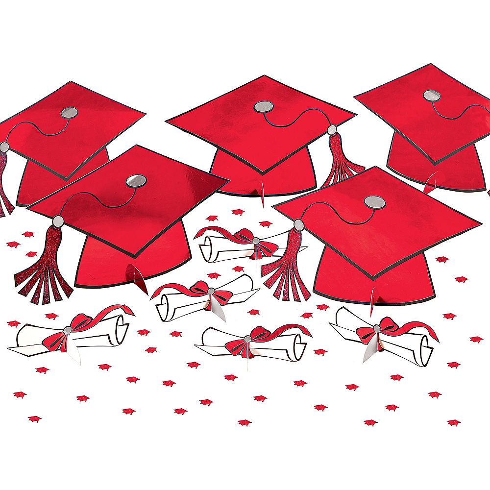 Red Graduation Table Decorating Kit 11pc Image #1