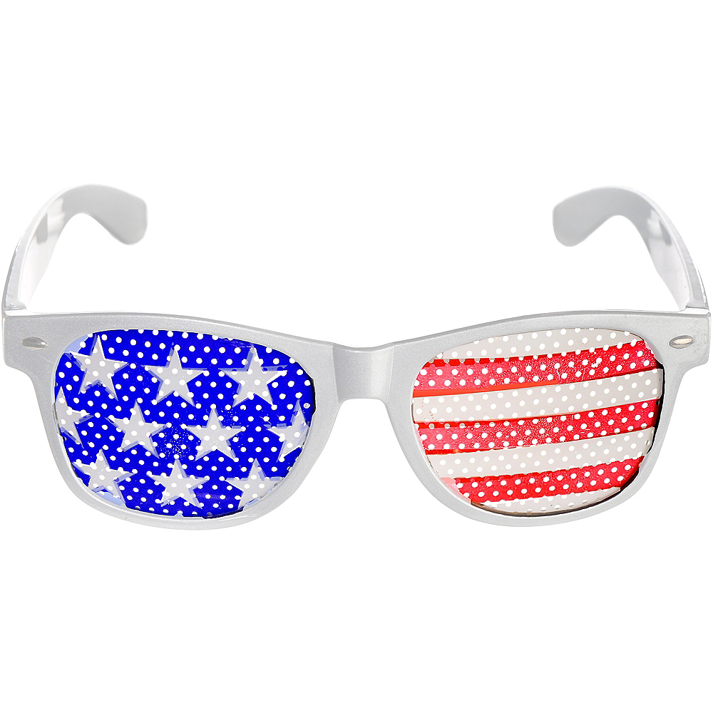 Patriotic American Flag Printed Glasses Image #1