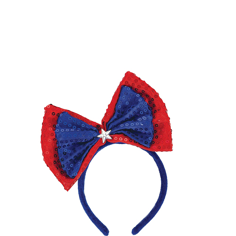 Sequin Patriotic Red, White & Blue Bow Headband Image #1