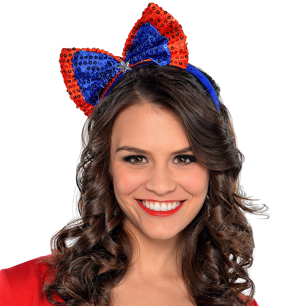 Sequin Patriotic Red, White & Blue Bow Headband Image #2