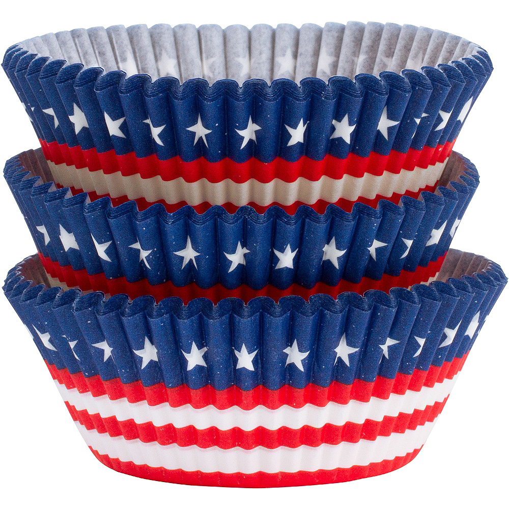 Patriotic American Flag Baking Cups 75ct Image #1