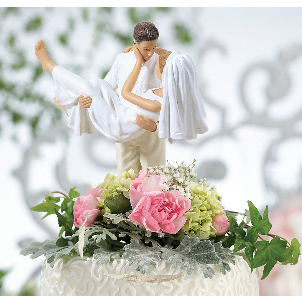 Caucasian Bride & Groom Beach Wedding Cake Topper 5in X