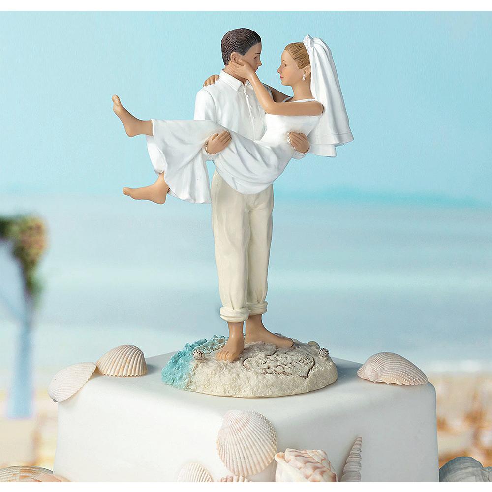 Caucasian Bride Groom Beach Wedding Cake Topper Image 2