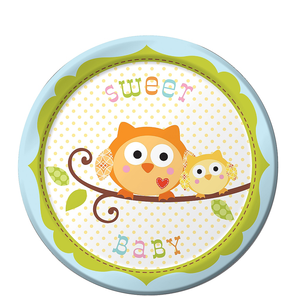Blue Owl Baby Shower Dessert Plates 8ct Image #1