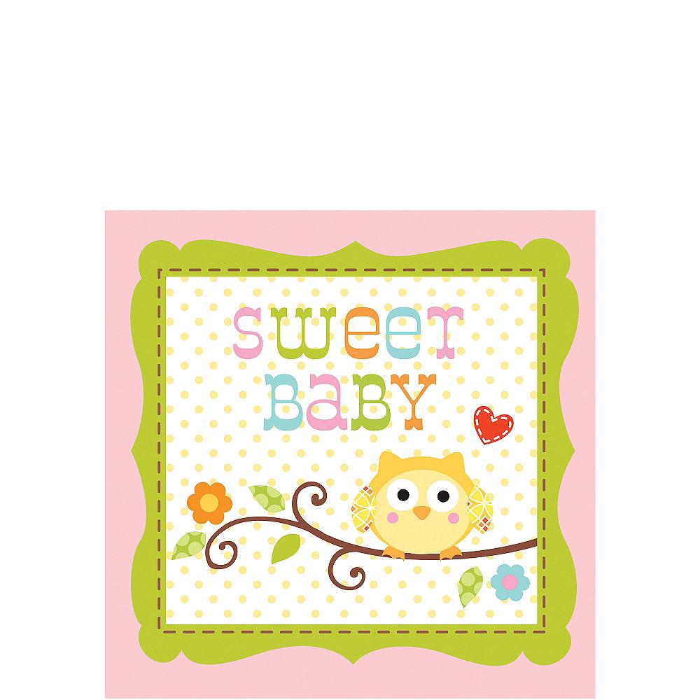 Pink Owl Baby Shower Beverage Napkins 16ct Image #1