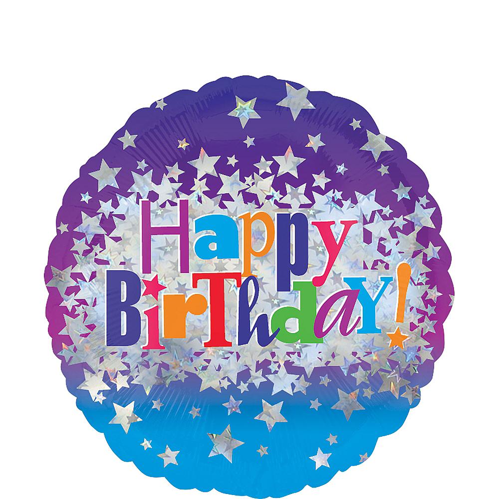 Happy Birthday Balloon - Prismatic Bright Stars 17in, 18in Image #1