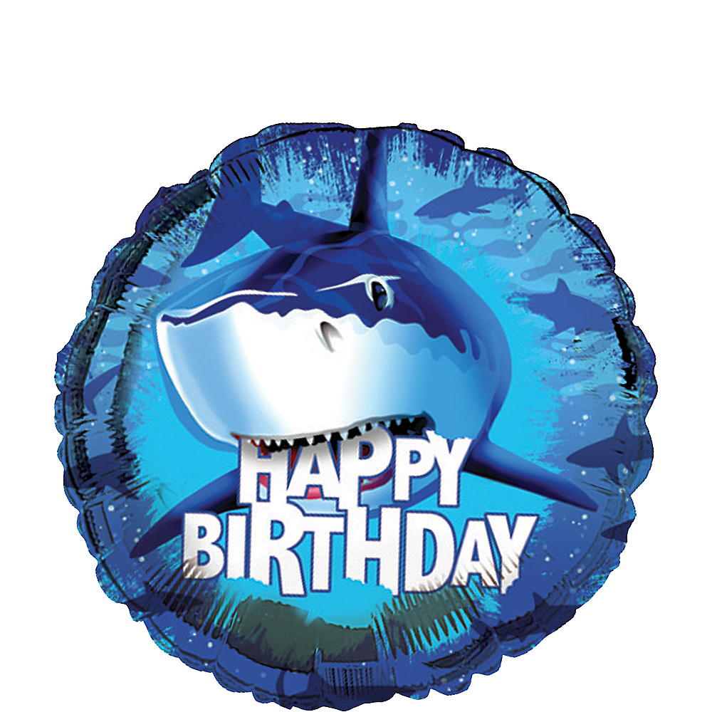 Shark Birthday Balloon, 18in Image #1