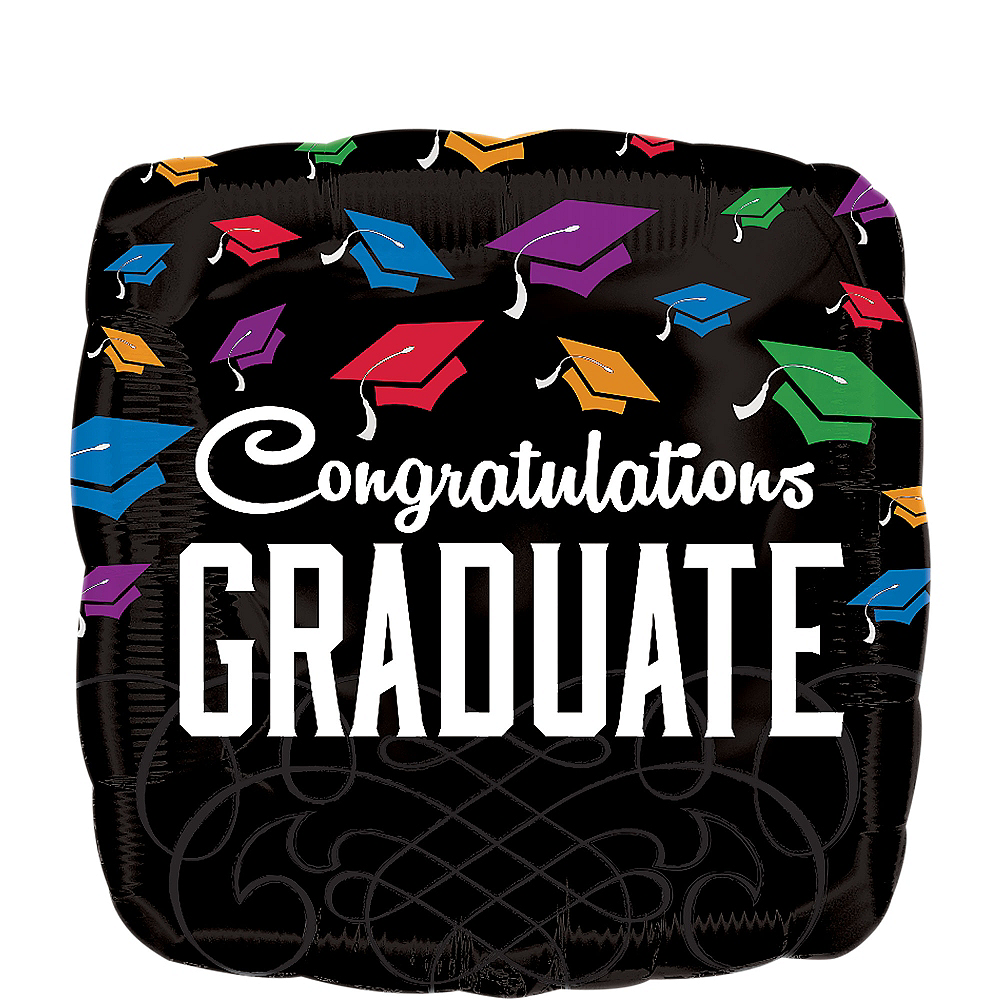 Graduation Balloon - Square Congratulations, 17in Image #1
