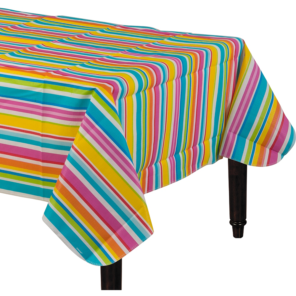 Summer Stripes Flannel-Backed Vinyl Table Cover Image #1