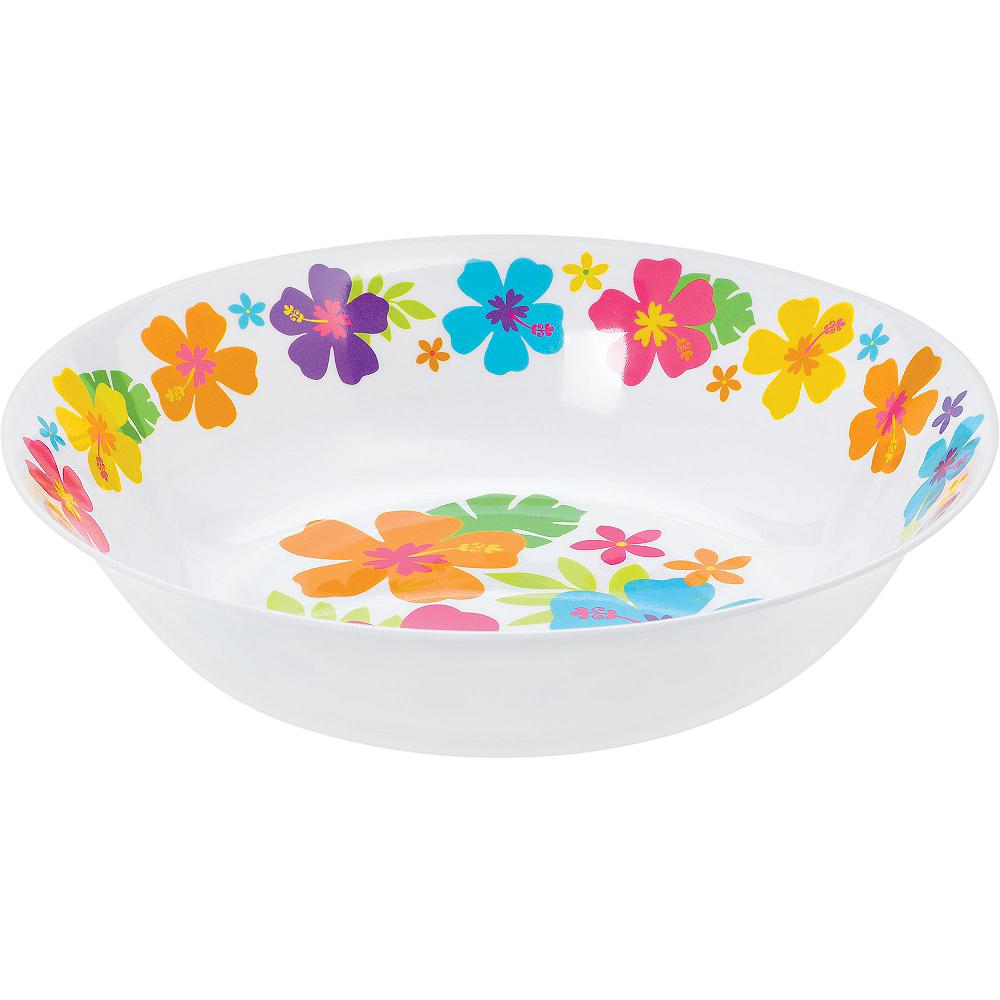 White Hibiscus Plastic Bowl Image #1