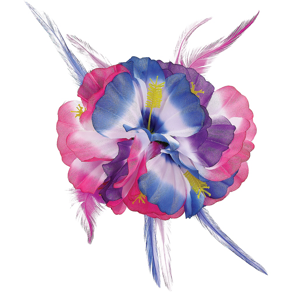 Pink & Blue Hibiscus Barrette Deluxe Image #1