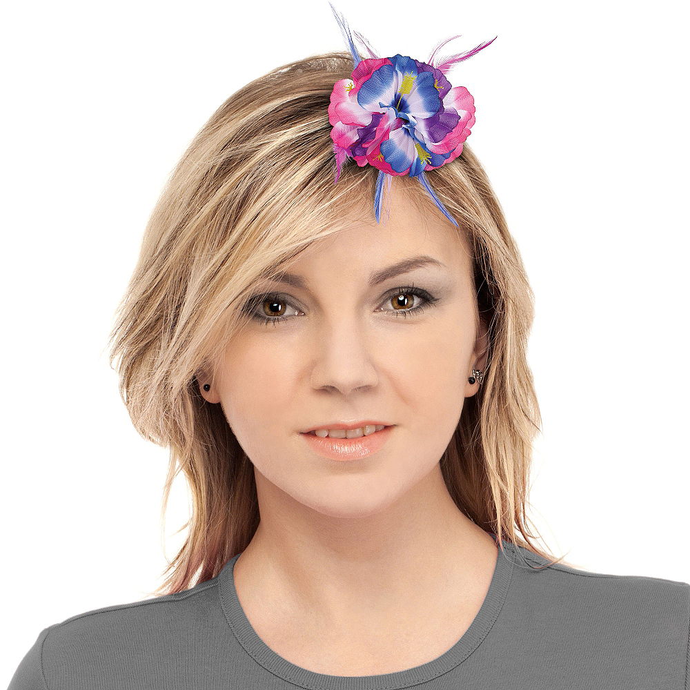 Pink & Blue Hibiscus Barrette Deluxe Image #2