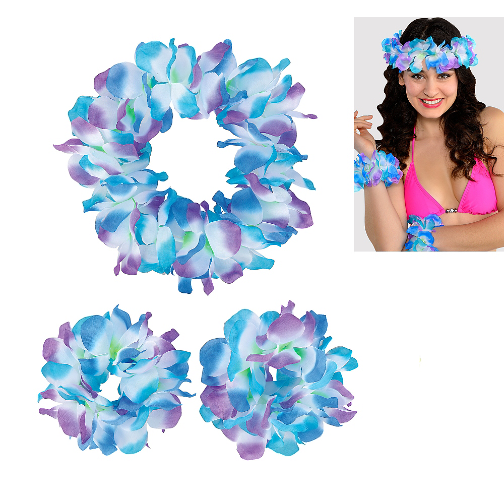Nav Item for Cool Serendipity Head & Wrist Flower Lei Set 3pc Image #1