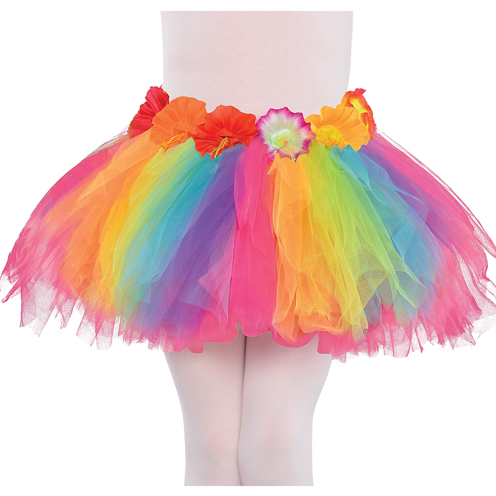Child Hibiscus Rainbow Hula Tutu Image #1