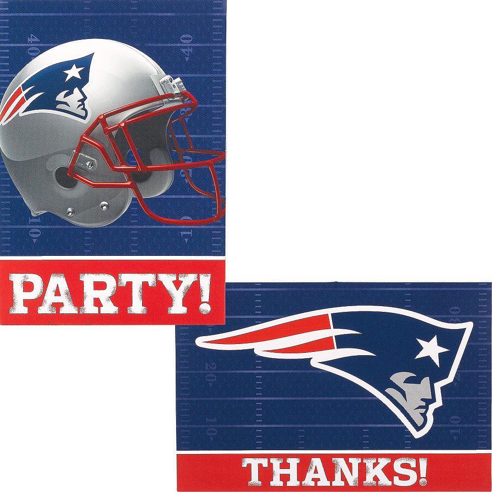 New England Patriots Invitations & Thank You Notes For 8 Image #1