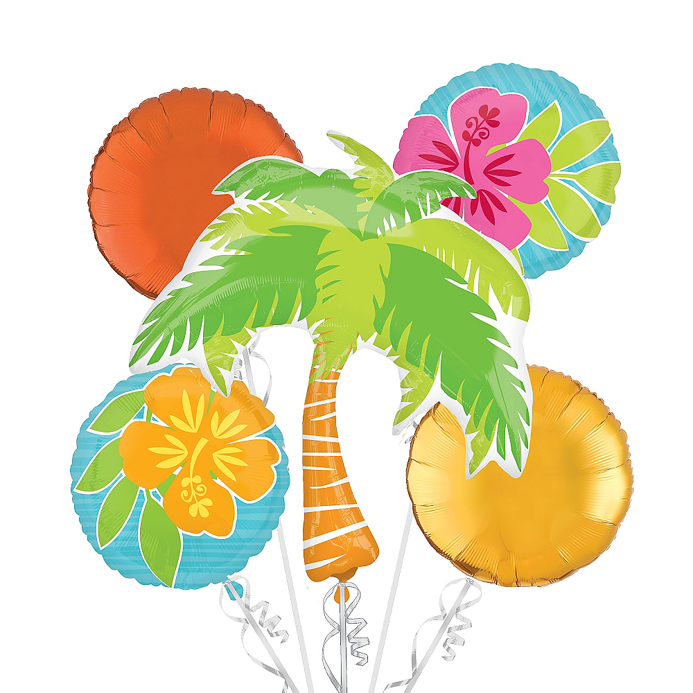 Tropical Balloon Bouquet 5pc - Tiki Image #1