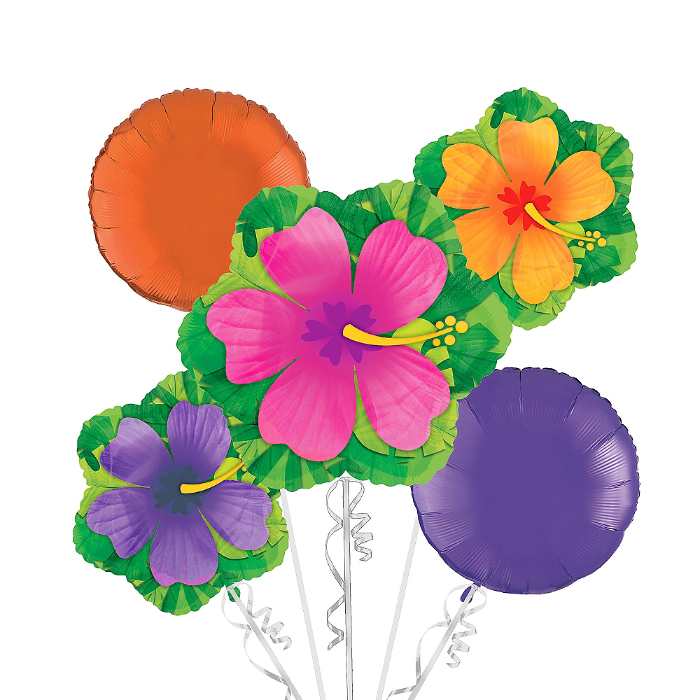Nav Item for Hibiscus Balloon Bouquet 5pc Image #1