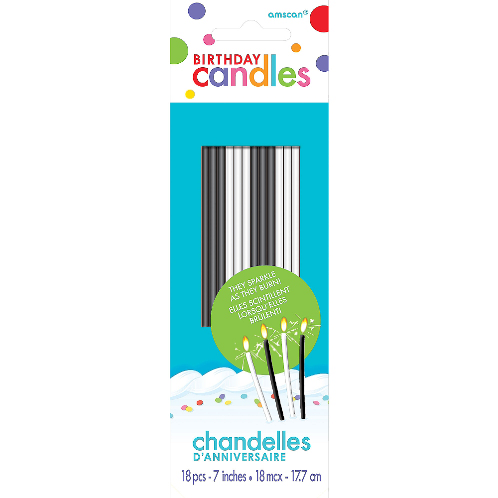 Tall Black & White Sparkler Birthday Candles 18ct Image #1