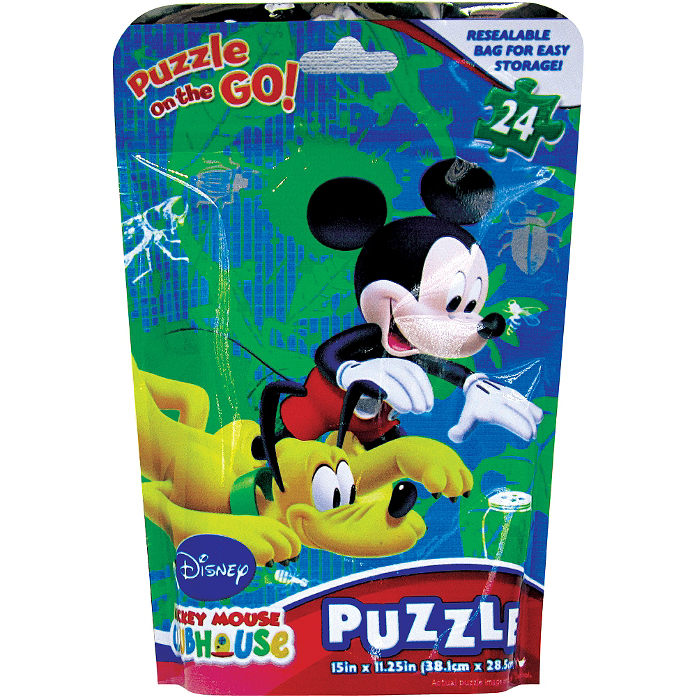 mickey mouse clubhouse puzzle bag 24pc party city