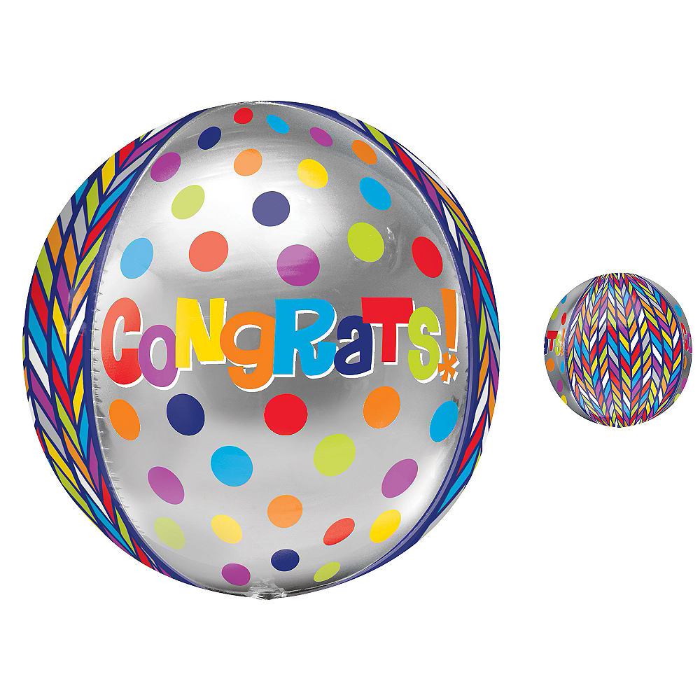 Orbz Dotty Geometric Congrats Balloon, 16in Image #1