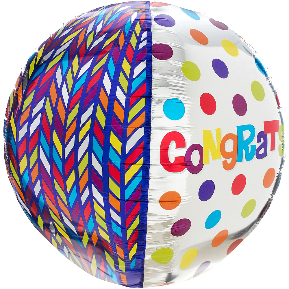 Nav Item for Orbz Dotty Geometric Congrats Balloon, 16in Image #4