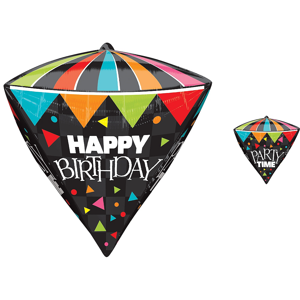 Nav Item for Diamondz Party Time Birthday Balloon 17in Image #1