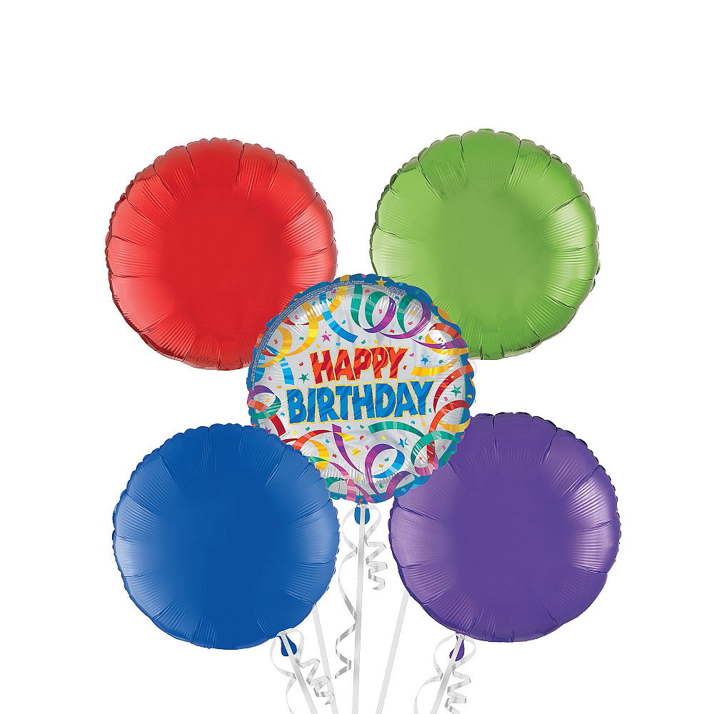 Happy Birthday Balloon Bouquet 5pc - Party Streamers Image #1