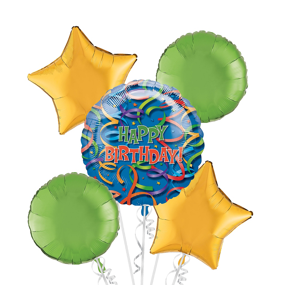 Nav Item for Happy Birthday Balloon Bouquet 5pc - Celebration Streamers Image #1