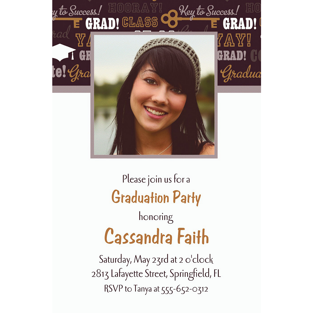 Custom Key To Success Graduation Photo Invitations  Image #1