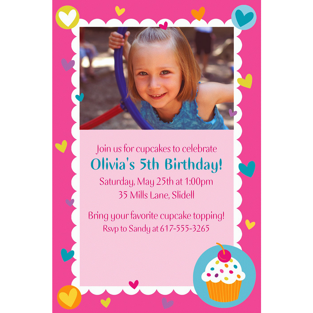 Nav Item for Custom Cupcake Party Photo Invitations Image #1