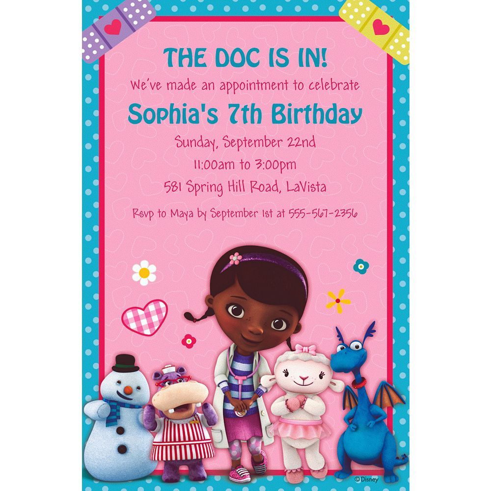 Custom Doc McStuffins Invitations Image 1