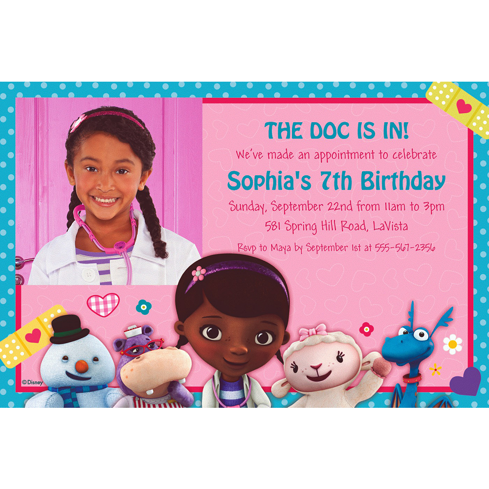 Custom Doc McStuffins Photo Invitations Image 1