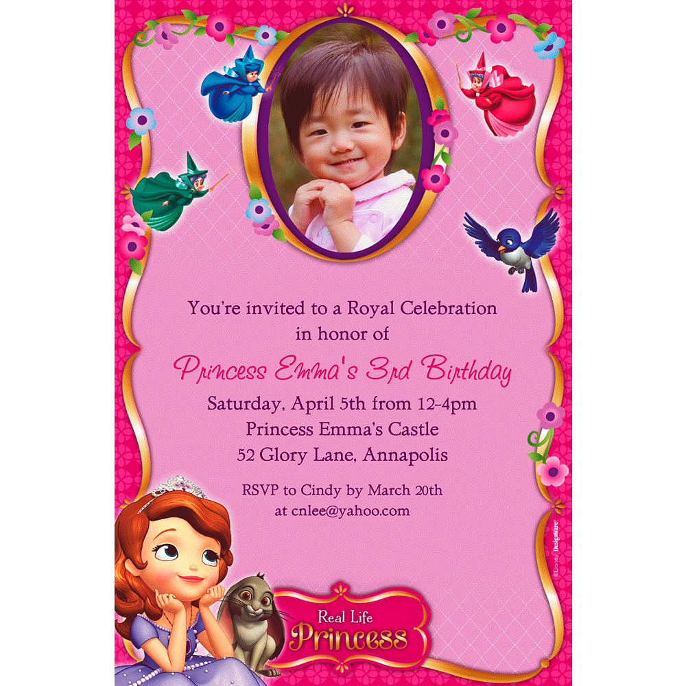 Custom Sofia the First Photo Invitations Image #1