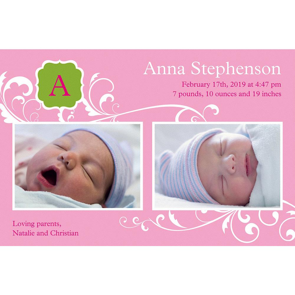 Custom Filigree & Monogram Girl Photo Announcement Image #1