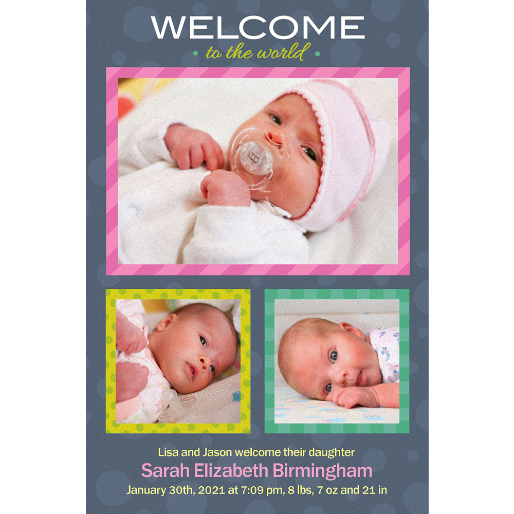 Custom Welcome to the World Girl Photo Announcement Image #1